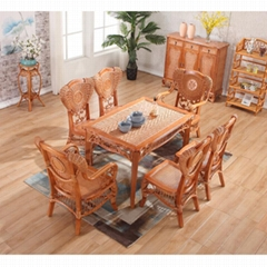 Antique Nature Rattan Cane Woven Wooden Dining Room Table