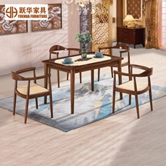 Simple Nordic Rattan Wooden Table Set Dining Table and Chair