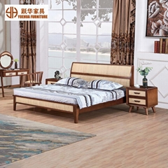 Nordic Solid Wood Bed Bedroom Furniture Rattan Wooden Double Bed