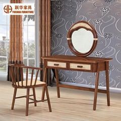 Nordic Style Bedroom Furniture Rattan Wooden Dresser Mirror Dressing Table