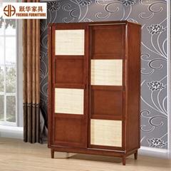 Nordic Sliding 2 Door Bedroom Furniture Closet Storage Rattan Wooden Wardrobe