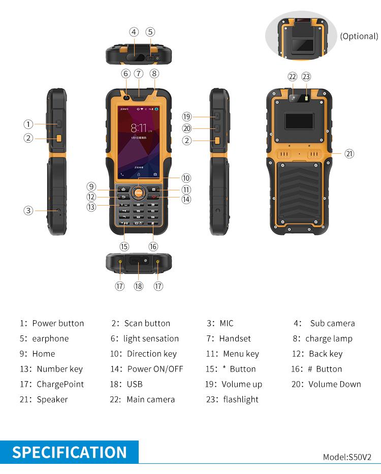 4.5inch PDA Optional NFC LF HF UHF RFID Barcode 2d scanner  industrial IP67 3