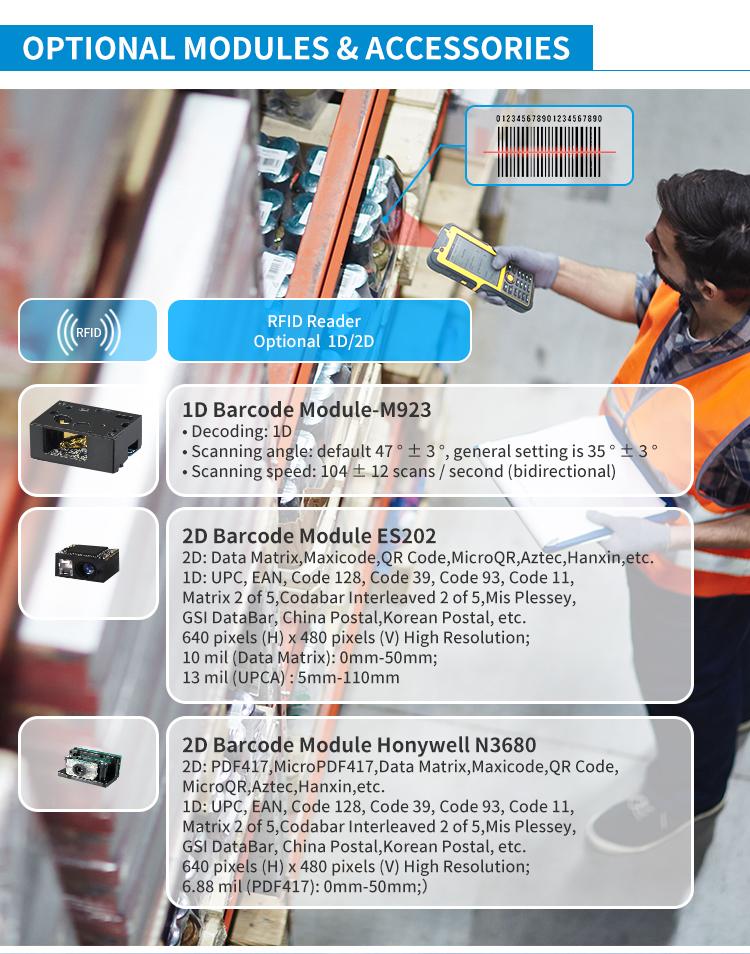 4.5inch PDA Optional NFC LF HF UHF RFID Barcode 2d scanner  industrial IP67 5