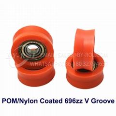 POM/NYLON Coated 696zz V Groove Plastic Bearing Roller