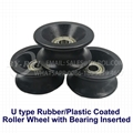 U Type Rubber/Plastic Coated Roller Wheel with Double Bearings Inserted