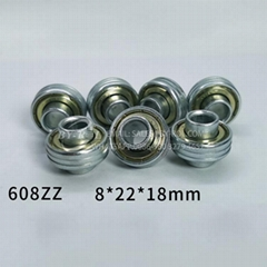 Customized Bearing 608zz with Grooves and Extended Inner Rings for Platic Wheel