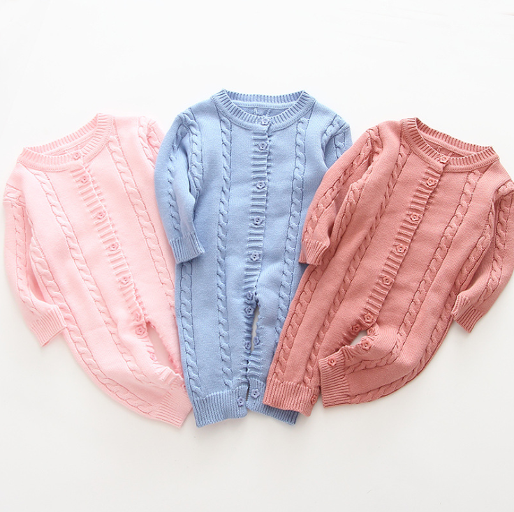 Long-sleeved unisex newborn baby clothes solid color capless toddler button jump 1