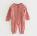 Long-sleeved unisex newborn baby clothes solid color capless toddler button jump 2