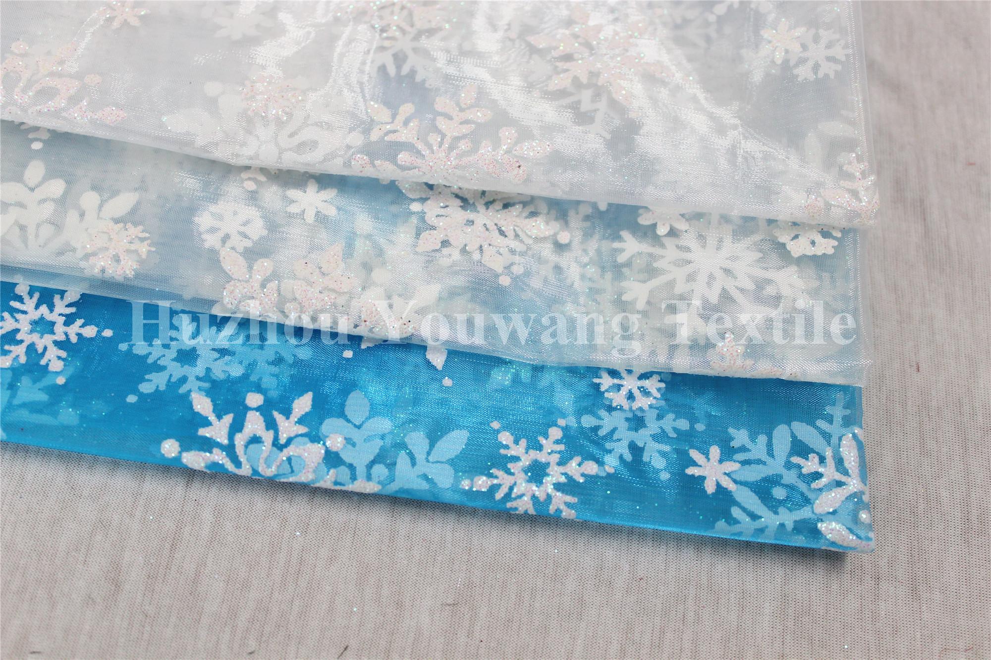 Snowflake Design Glitter Organza Fabric 1