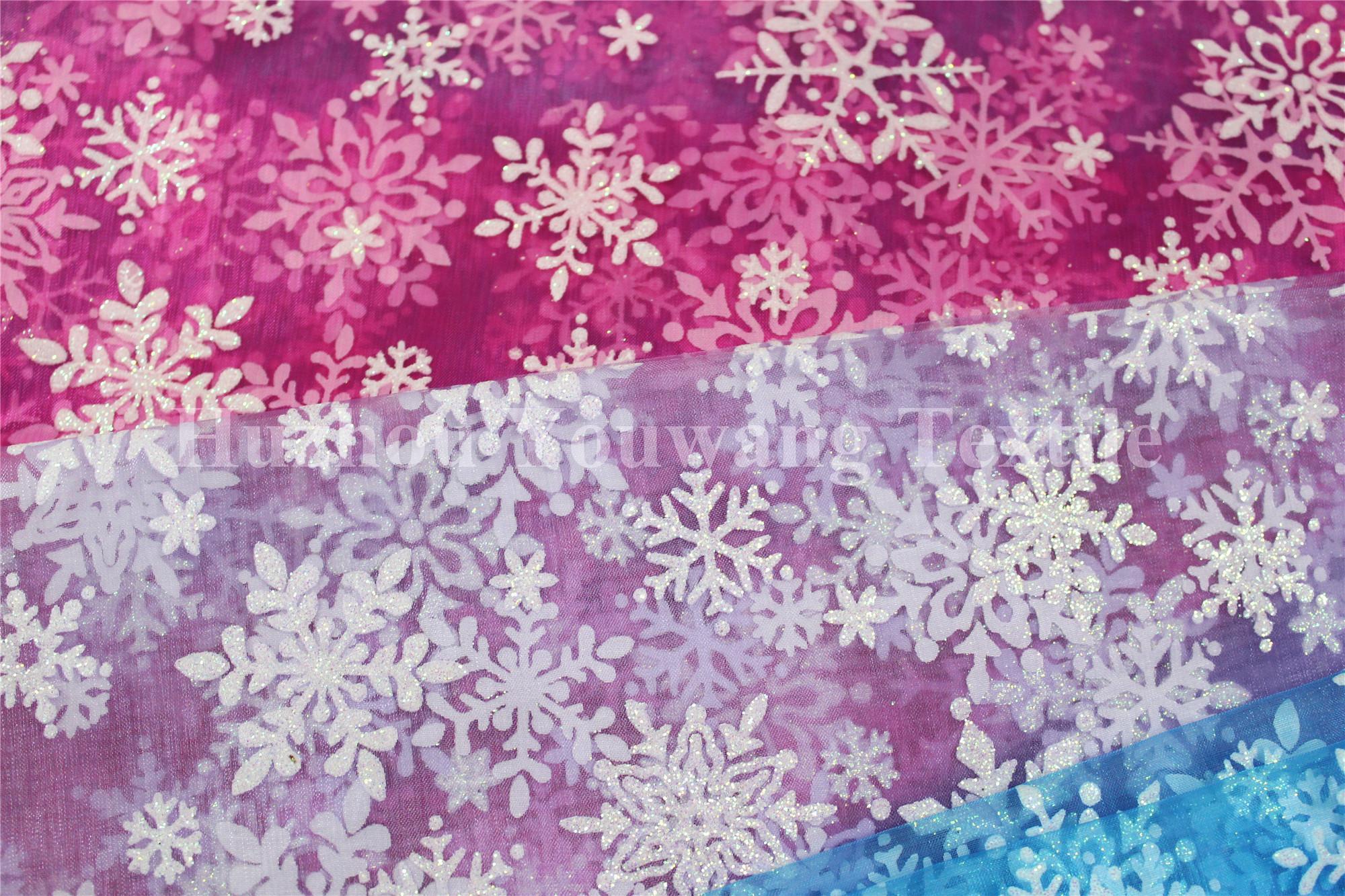 Snowflake Design Glitter Organza Fabric 3