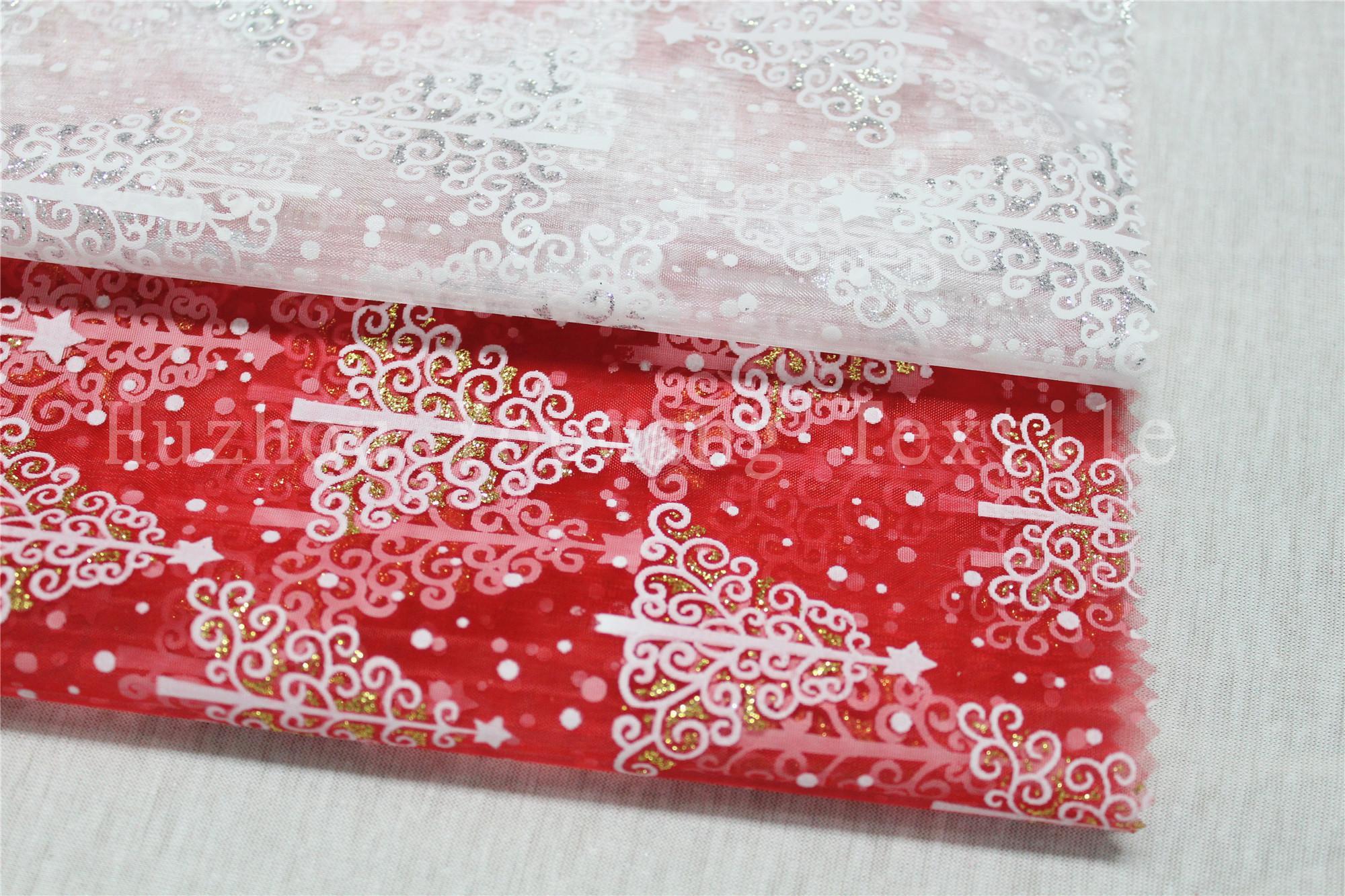Glitter Christmas Design Glass Organza Fabric