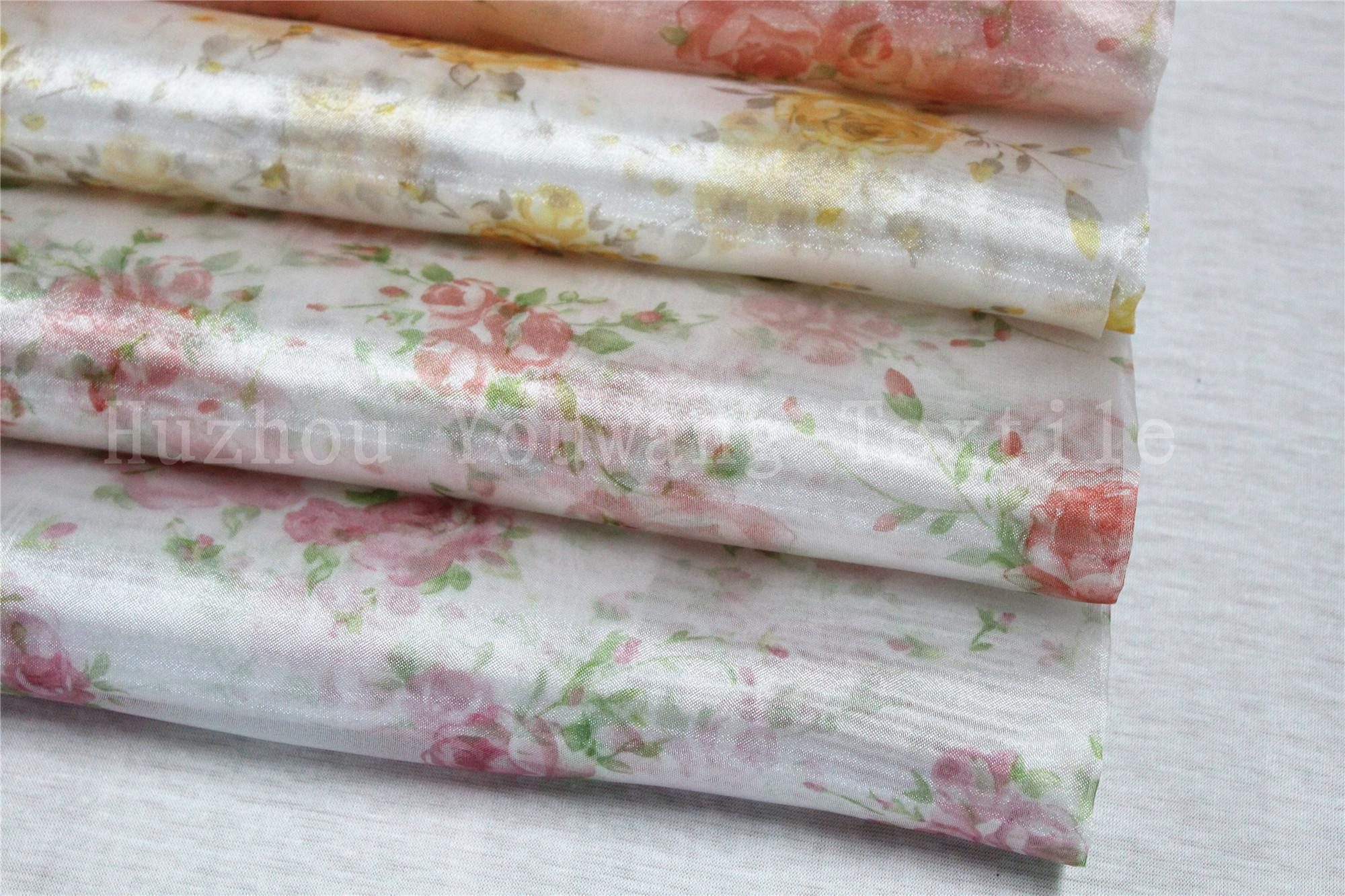Printed Flower Design Crystal Organza Fabric 1