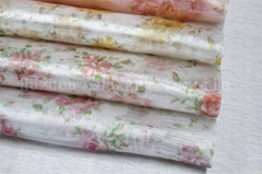 Printed Flower Design Crystal Organza Fabric