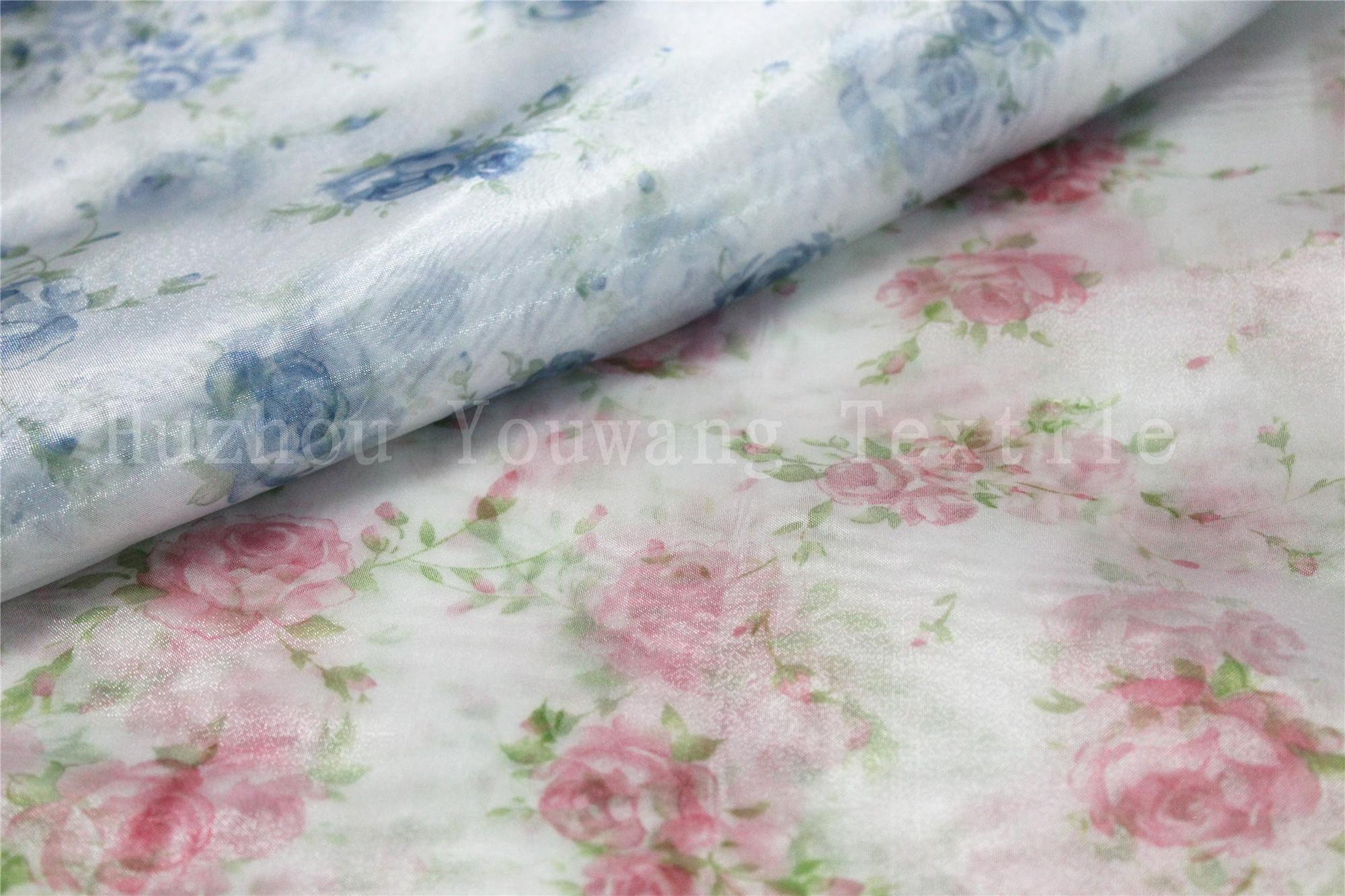 Printed Flower Design Crystal Organza Fabric 2