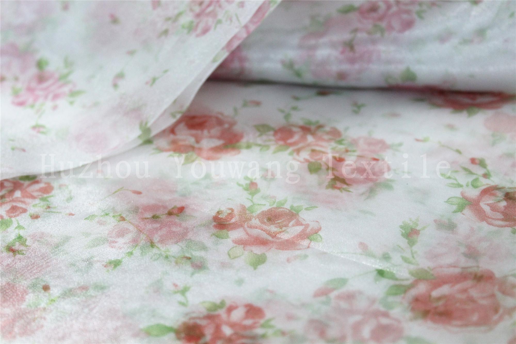 Printed Flower Design Crystal Organza Fabric 4