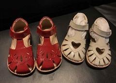 Leather 23-30 Girls Sandals Flat Little Girls Summer Dress Shoes