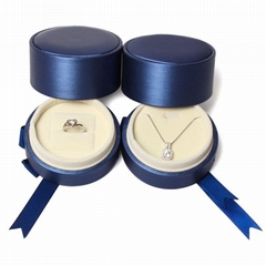 Round brushed PU ring box pendant box necklace box jewelry box jewelry packaging