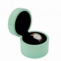 Custom High Glossy Luxury Green Round Wooden watch box