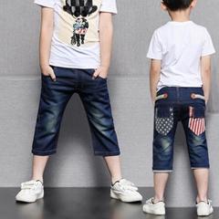 童装中裤儿童裤子 男童短裤破洞牛仔裤夏天童裤