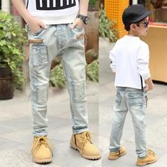 新款童裝儿童褲子男 男童破洞牛仔褲春秋裝棉童褲
