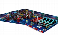 Space themed Children Amusement park with big slide and trampoline play area