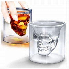 Double Wall Cool Crystal Skull Shot Glass Drink Wine Cup for A Whiskey Halloween