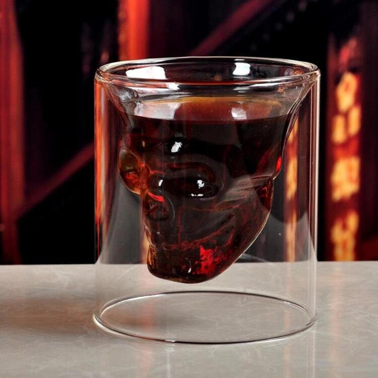 Double Wall Cool Crystal Skull Shot Glass Drink Wine Cup for A Whiskey Halloween 4