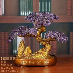 Natural Amethyst Genuine Gem Crystal Rock Hand Crafted Bonsai Tree