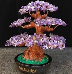 Natural Rock Quartz Made Amethyst Citrine Crystal Gemstone Bonsai Tree