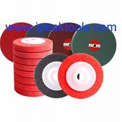 Red non woven nylon unitized wheel