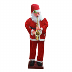 Red Blowing Saxophone Swing And Dancing 1.8m High Electric Santa