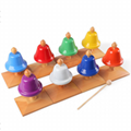 Hand Bells 8 Note Metal Easy Use Children Adult 8 Piece Colorful Set with Box