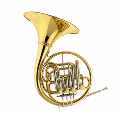 Gold brass body 4key double professional French horn