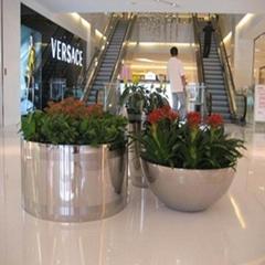 商场创意景观花箱树脂玻璃钢不锈钢花钵