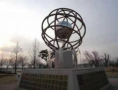 供应广场圆球贴金 不锈钢雕塑 园林景观 雕塑