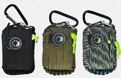 戶外救生包軍傘繩迷你應急包野外生存裝備急救包多功能工具求生包