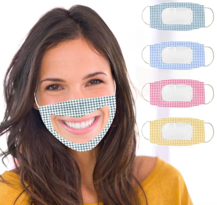 薄款透氣可水洗棉布口罩可視容貌pvc透明防護唇語口罩 3