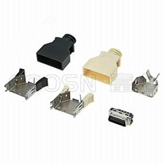 SCSI 20Pin卡钩弹片式焊线公头  HPCN 20芯连接器接头