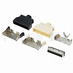 SCSI 50Pin卡钩弹片式焊线公头  HPCN 50芯连接器接头