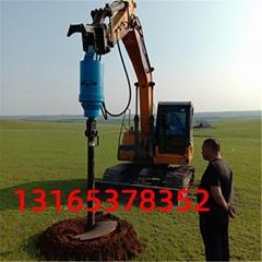 85挖機改螺旋鑽機 10米地基打樁機