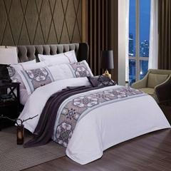 酒店布草 酒店床上四件套 貢緞數碼印花