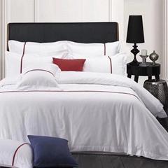 酒店布草 酒店床上用品 貢緞加織帶