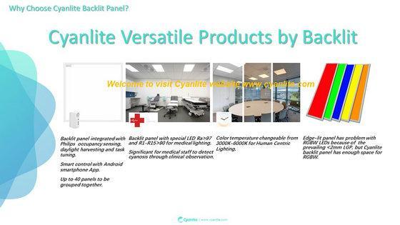 Cyanlite Backlite LED panel lights for Lay-On ceilings 600x600 300x1200 625x625 1