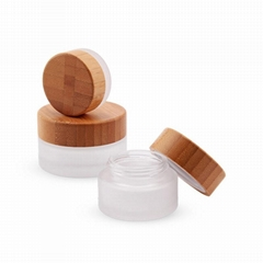 Empty 5g 10g 15g 30g 50g 100g 200g Cosmetic Packing Glass Jar with Bamboo Lid