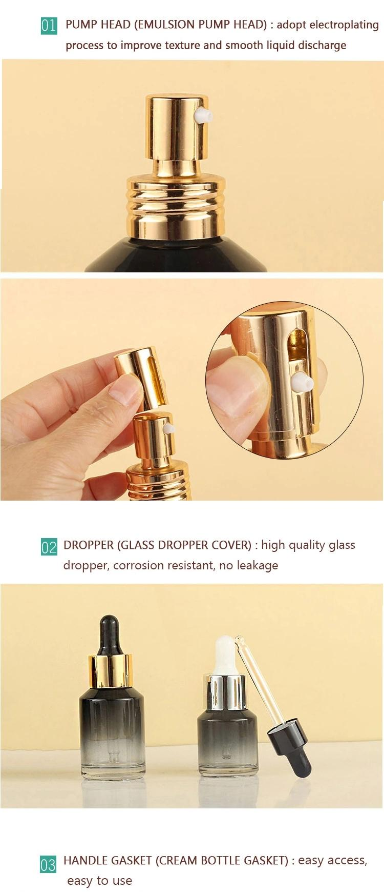 Latest New Design Round Square Perfume Glass Bottle Cosmetic Set with Pump 3