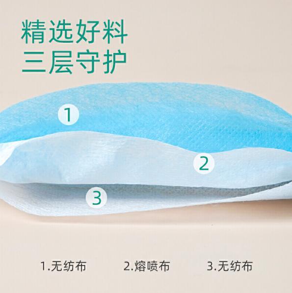 現貨供應一次性成人平面口罩藍白色 1