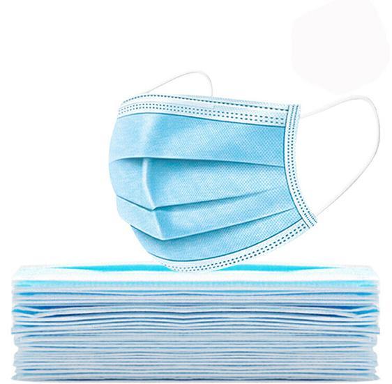 現貨供應一次性成人平面口罩藍白色 2