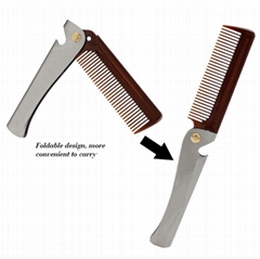 Portable Foldable Stainless Steel Bottle Opener Comb Mini Mustache Comb