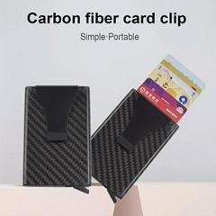 Back Pocket ID Carbon Fiber Card Holder RFID Blocking Slim Credit Card Wallet
