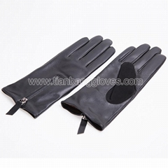 faux fur lined stylish women's leather glove with zipper